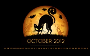 Wallpaper cat, the moon, a month, October, Halloween, mouse, calendar, number, helloween, october, ghosts