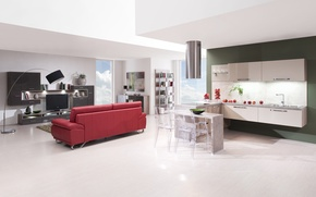 Picture design, space, style, interior, kitchen, living room