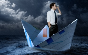 Picture sea, storm, rain, tie, binoculars, male, shirt, boat