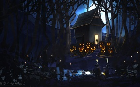 Wallpaper forest, night, house, the moon, art, pumpkin, evil, happy halloween, by k04sk