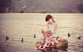 Picture stone, girl, book, in the water, Tales of distant countries