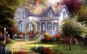 Picture summer, picture, garden, art, artist, arch, before, painting, painting, home, Thomas Kinkade., garden