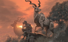 Picture sunset, robot, soldiers, horns, antelope, The kud