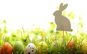 Picture grass, nature, holiday, eggs, spring, rabbit, Easter, figure, Easter