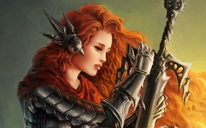 Picture girl, fiction, sword, armor, art, red, painting