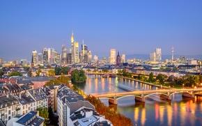 Picture lights, river, home, the evening, Germany, lights, bridges, Frankfurt