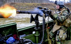 Picture water, fire, boat, soldiers, tape, equipment, shooter, Minigun