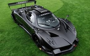Picture grass, black, supercar, grass, carbon, Pagani, black, zonda, probe, Pagani, carbon. supercar