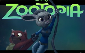 Wallpaper Disney, art, Nick Wild, zootopia, Judy Hopps, cartoon