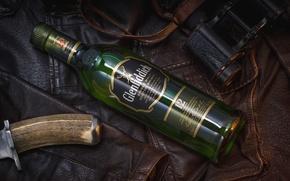 Picture style, bottle, leather, jacket, knife, binoculars, whiskey, Scottish
