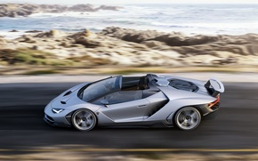 Picture road, car, auto, coast, Roadster, Lamborghini, supercar, speed, Centennial