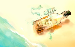 Wallpaper Figure, bottle with musicians, picture, beach, sea, notes, music, the inscription