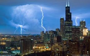 Picture the city, photo, lightning, skyscrapers, Chicago, USA, National Geographic, Illinois