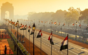 Picture street, India, arch, parade, flags, Republic Day, New Delhi