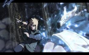 Picture lightning, art, kunai, Naruto Shippuden, Minato vs Raikage