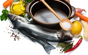 Picture lemon, fish, bow, pepper, carrots, parsley, spices, salt, ingredients