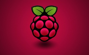 Picture computer, raspberry, color, berry, leaf, Raspberry Pi