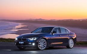 Picture beach, sunset, BMW, Luxury Line, 340i