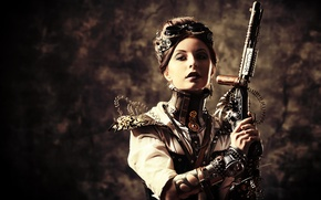Picture girl, style, weapons, wire, glasses, steampunk
