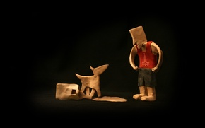 Picture Olympics, black background, clay