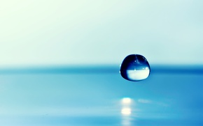 Picture water, background, drop, focus, blue