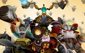 Picture team, sniper, heroes, Dota 2, Clockwerk, Tinker