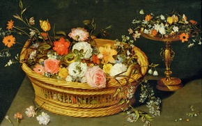 Picture basket, picture, vase, Jan Brueghel the younger, Still life with Flowers