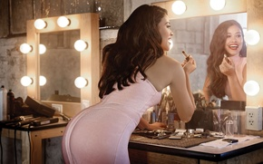 Picture light, pose, reflection, figure, dress, actress, mirror, lipstick, brunette, hairstyle, photographer, light bulb, table, perfume, …