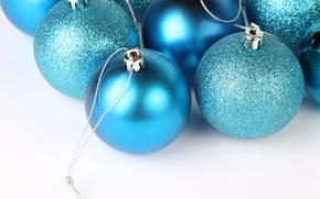 Wallpaper macro, holiday, blue, Christmas balls, Shine