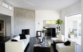 Picture design, table, room, sofa, interior, pillow, chess, white, black, vases