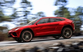 Picture Concept, the sky, trees, red, speed, Lamborghini, jeep, the concept, side view, Lamborghini, Urus, Urus