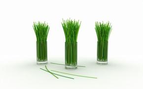 Wallpaper green, stems, lemon grass, glasses
