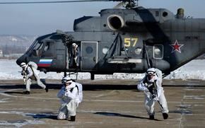 Picture helicopter, Mi-8AMTSH, Paratroopers reconnaissance, landing