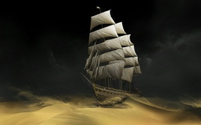 Picture sand, ship, sail