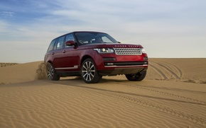 Picture sand, the sky, dunes, jeep, Land Rover, Range Rover, the front, Range Rover, Land Rover