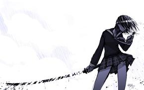 Picture katana, white background, phone, Schoolgirl, the shower
