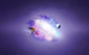 Picture space, stars, nebula, planet, art, space