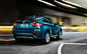 Picture blue, bmw, BMW, jeep, rear view, cool car, 35i, икс6, xdrive