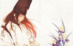 Picture flowers, background, anime, art, guy, Hikaru and Guo, hikaru no go