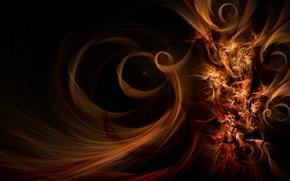 Wallpaper smoke, line, curls