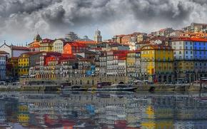 Wallpaper reflection, river, building, home, boats, blur, Portugal, promenade, Portugal, Porto, Port, the river Duero, Douro ...
