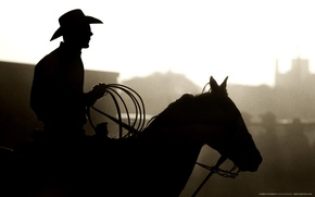 Picture silhouette, cowboy, lasso