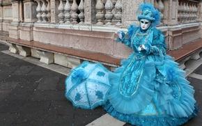 Picture blue, umbrella, mask, costume, Venice, carnival