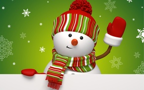 Wallpaper winter, snowflakes, holiday, graphics, new year, Christmas, green, snowman, christmas, new year