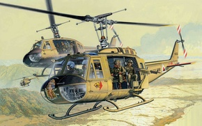 Picture Mohawk, American, Bell, multipurpose, UH-1, Bell, Iroquois, helicopter, Huey, Huey