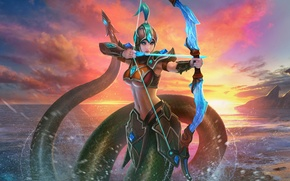 Wallpaper being, bow, sunset, sea, Naga Kertana, Juggernaut Wars, the game, Archer