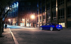 Picture night, blue, the city, Audi, Audi, blue, coupe