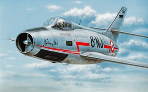 Picture jet, avaition, painting, Dassault Mystere, airplane, war, art