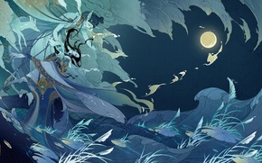 Wallpaper the moon, wave, night, guy, ears, claws, Girl