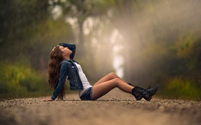 Picture road, girl, shorts, boots, legs, jeans